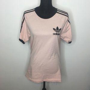 Adidas Pink & Black Logo Striped Tee